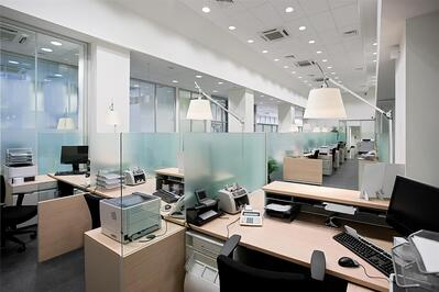 empty office with desks in raw