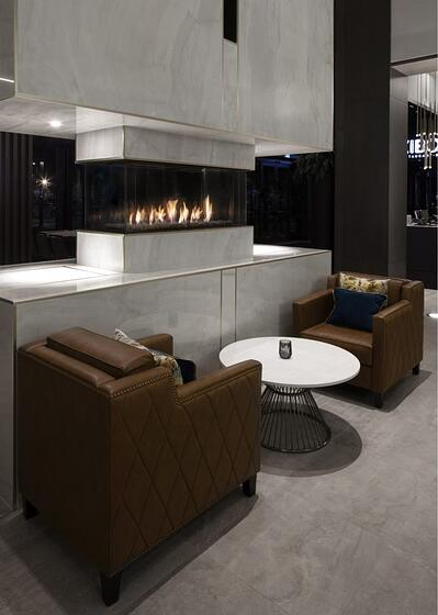 Ortal's Island 130 Fireplace at the Saint-Hyacinthe Convention Centre in Quebec, Canada