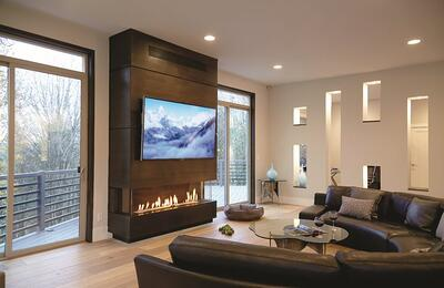 Ortal Three-Sided Gas Fireplace