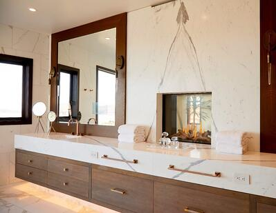 luxury bathroom features an ortal tunnel fireplace 75x65 Tunnel model
